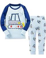 Dinobaby Boys Racing Car Pajamas, Little Kids PJS 100% Cotton Sleepwear Size 3-