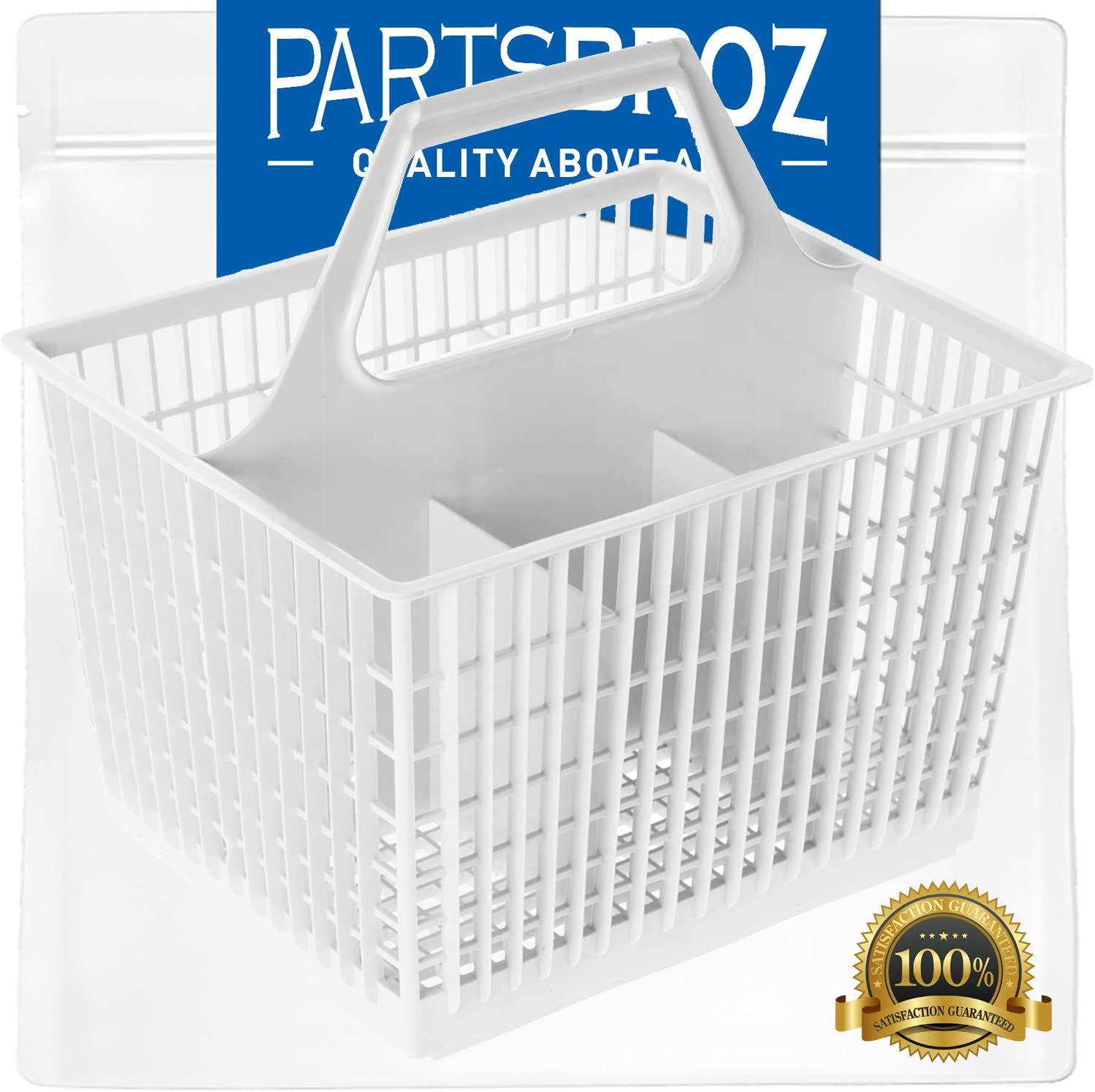 WD28X265 Silverware Basket with Handle by PartsBroz - Compatible with GE Dishwashers - Replaces 272327, AH261346, EA261346, PM28X0318, PM28X245LR, PM28X318, PS261346, WD12X0219