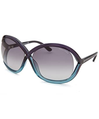65789271a0ec0 Amazon.com  Tom Ford Women s Sandra Oversized Blue Gradient Sunglasses   Clothing