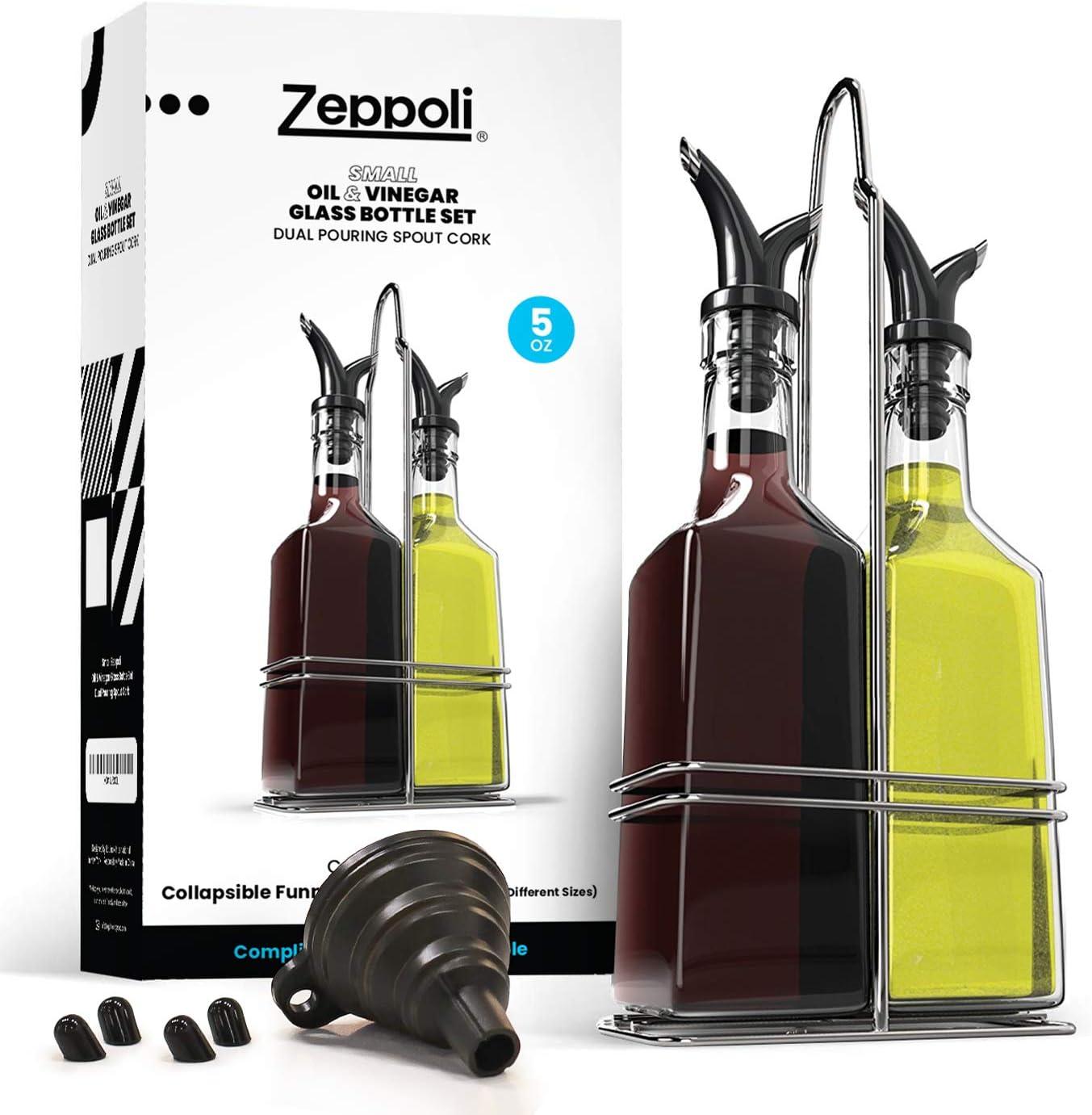 Zeppoli Oil and Vinegar Bottle Set with Stainless Steel Rack and Removable Cork – Dual Olive Oil Spout – Olive Oil Dispenser, Olive Oil Bottle and Vinegar Bottle Glass Set (5 oz)