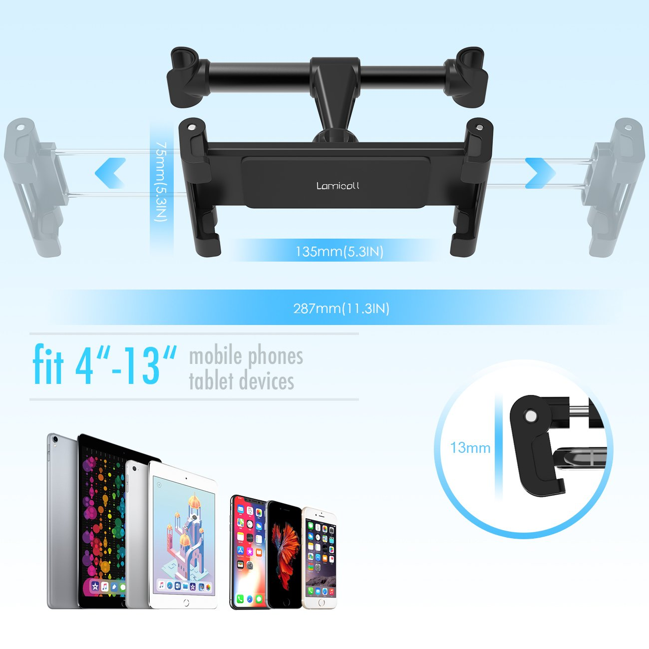 Car Tablet Headrest Mount, Lamicall Tablet Holder : Back seat Stand Cradle Compatible with 4.7~13 inch Like iPad 2017 Pro 9.7, 10.5, 12.9, Air Mini 2 3 4, Accessories, E-Reader, Smartphones - Black by Lamicall (Image #4)