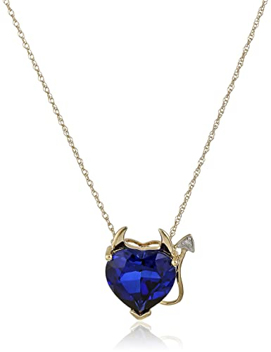 Amazon 14k yellow gold created sapphire heart devil pendant amazon 14k yellow gold created sapphire heart devil pendant necklace with diamond accent 18 sapphire necklaces for women jewelry aloadofball Image collections