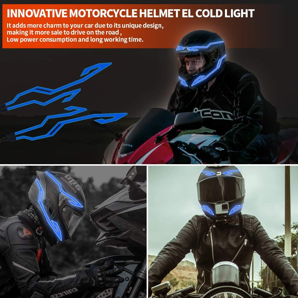 YnGia 4in1 EL Signal Light Strip for Motorcycle Night Driving Bicycle Blue