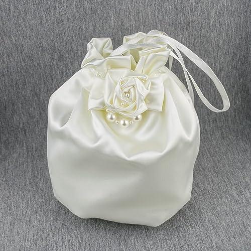 Bolso saten novia boda marfil beige crema
