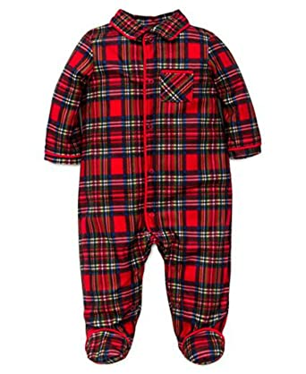 bc1f55196 Amazon.com: Little ME Baby Boy's Plaid Holiday Pajama Footie: Clothing
