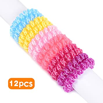 Amazon.com   Spiral Hair Ties 12pcs No Crease Elastic Ponytail Holders  Phone Cord Traceless Hair Ring Hair Rubber Bands Suitable for All Hair  Types 6 Colors ... fd0e77818e4