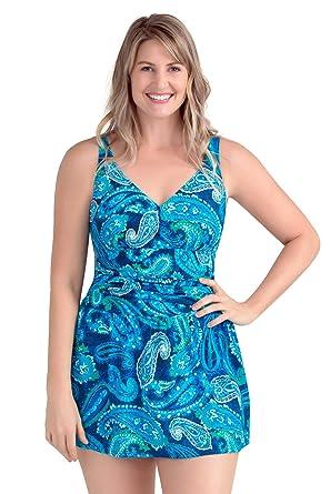 c8e15a842157 PERONA Plus Size Swimwear Tummy Control Swim Dress Size12-28 One Piece  Swimsuit with Flared