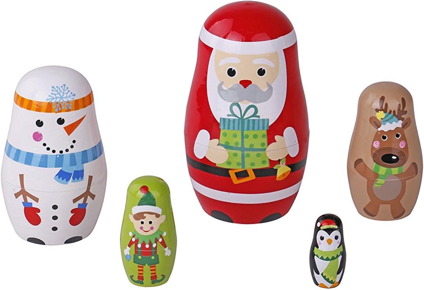 Christmas Nesting Dolls Set Christmas Tree Snowman Santa Matryoshka Doll