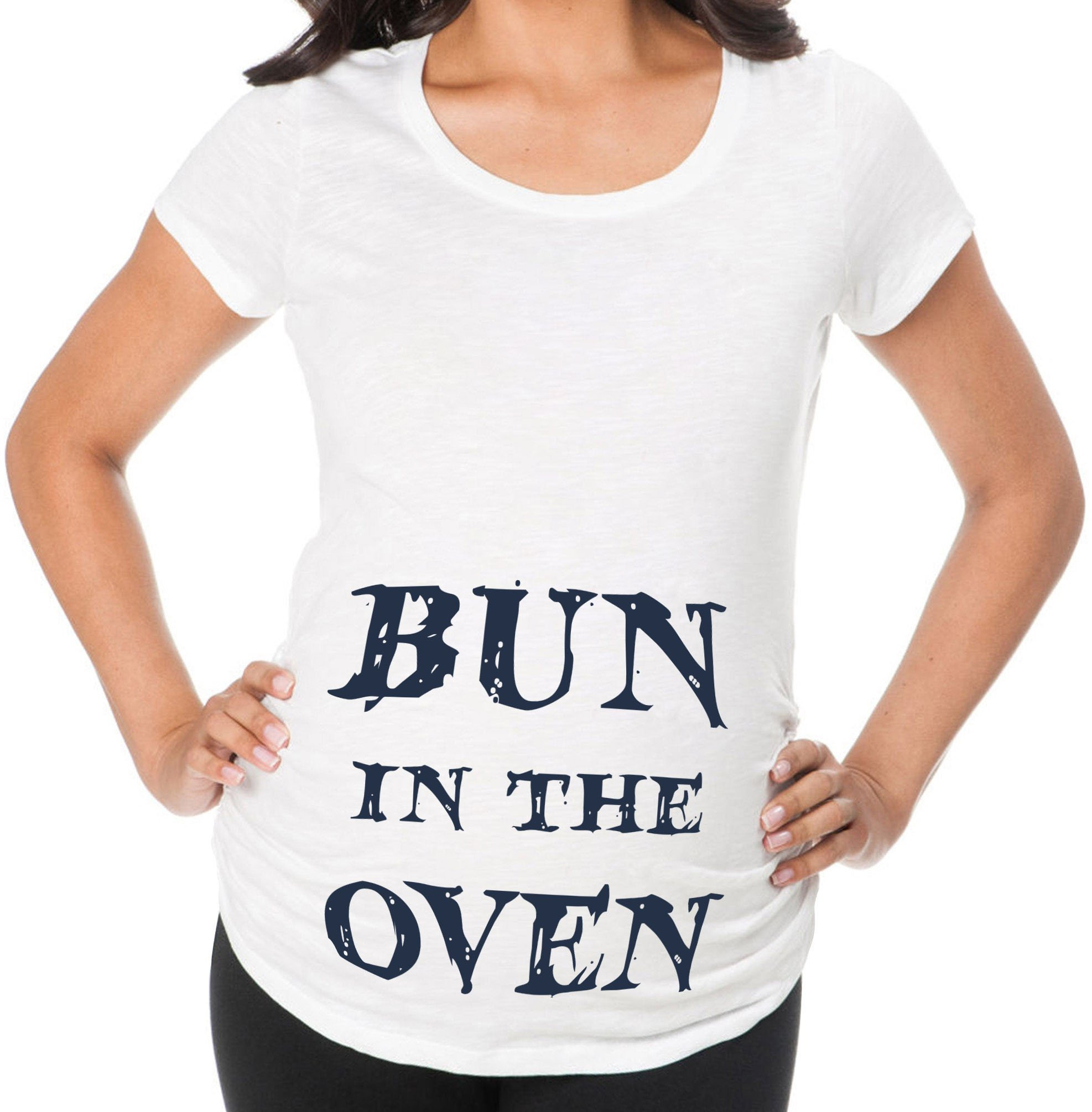 Awkward Styles Bun in The Oven Hilarious Pregnancy Announcement Maternity T Shirt Baby Shower Mom to Be White M