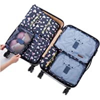 7Pcs Waterproof Travel Storage Bags Clothes Packing Cube Luggage Organizer Pouch (Navy Daisy)
