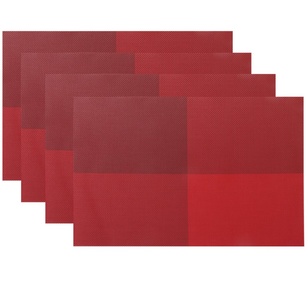 New pvc place mats non slip crossweave woven dining table mats x4 red decor room ebay - Dining room table mats ...