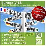 Europa V.18 - Profi Outdoor Topo Karte - Kompatibel zu Garmin GPSMap 78s