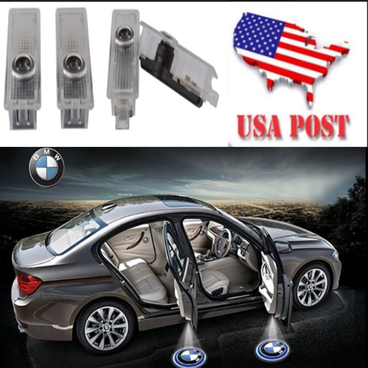 CNAutoLicht 4X Welcome Light LED Door Step Courtesy Light For BMW 1-Series E82 E87 F20 3-Series E90 E91 F30 5-Series E60 E61 F10 Laser Shadow Logo Projector Lamp