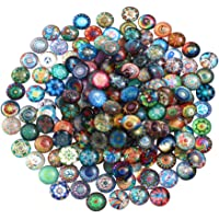 EXCEART 100pcs Glass Mosaic Tiles Mixed Mosaic Glass Pieces Half Round Cabochons Flatback Mosaic Tiles for DIY Crafts…