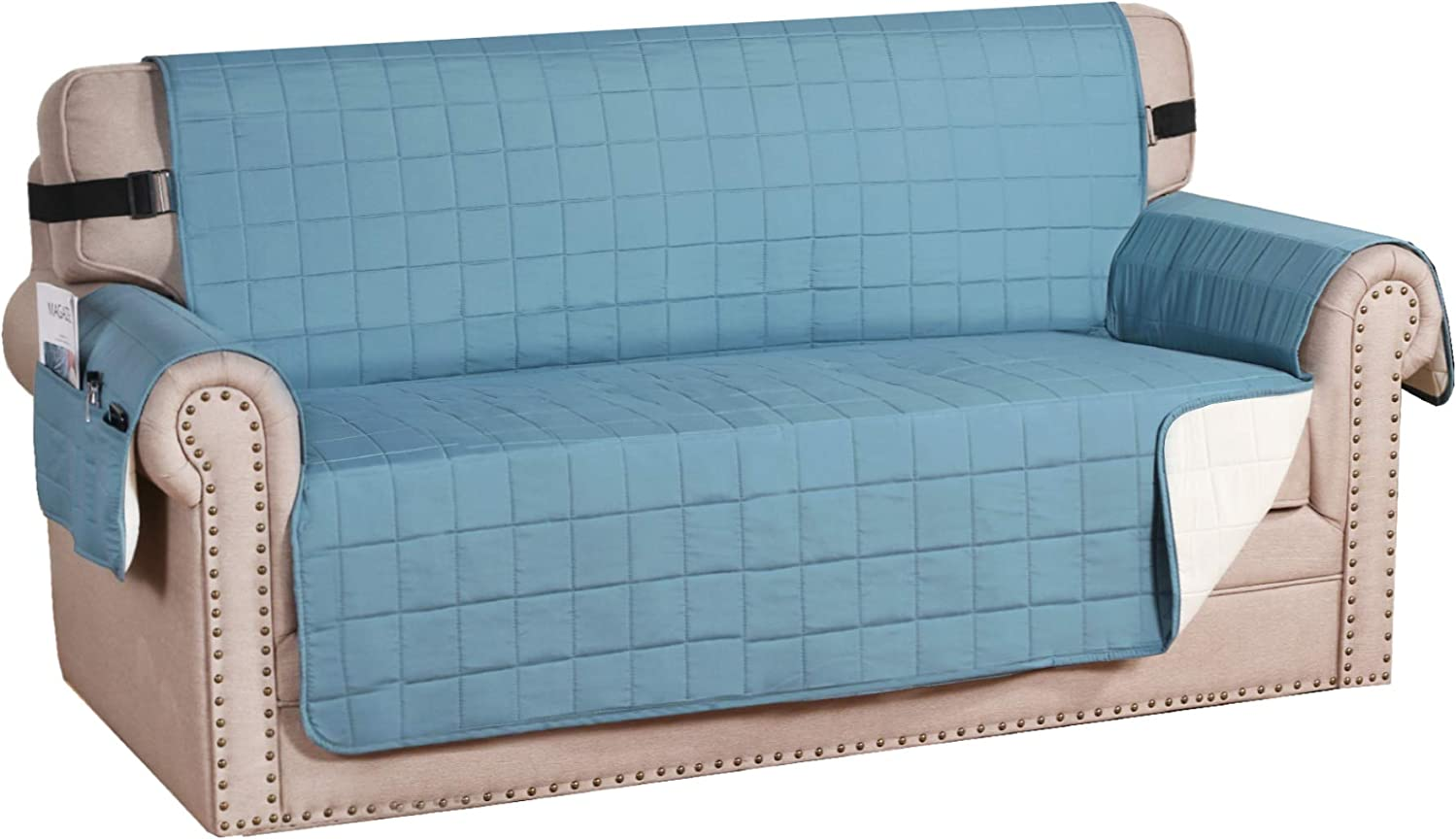 "H.VERSAILTEX Reversible Foam Quilted Non-Slip Furniture Protector with Side Pockets, 2"" Straps Covers for Dogs, Water-Repellent Sofa Slipcover, Seat Width Up to 54"", (Loveseat: Smoke Blue/Beige)"