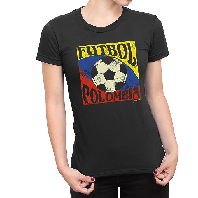 Buzz Shirts Mujeres Camiseta Futbol Colombia Copa del Mundo 2018 Fútbol Patriotic Copa America: Amazon.es: Ropa y accesorios