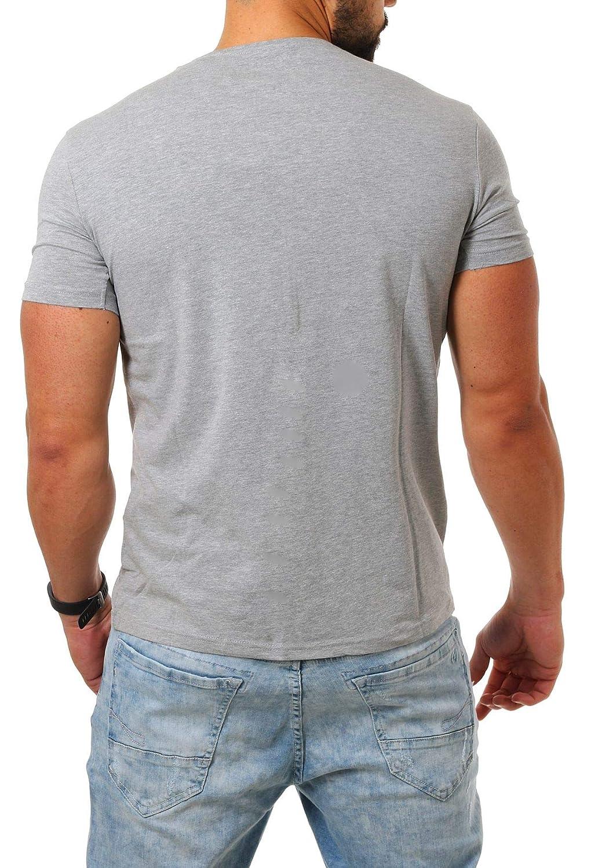 d192ed8e41fe Young   Rich Herren V-Ausschnitt T-Shirt einfarbig körperbetont mit Stretchanteilen  Uni