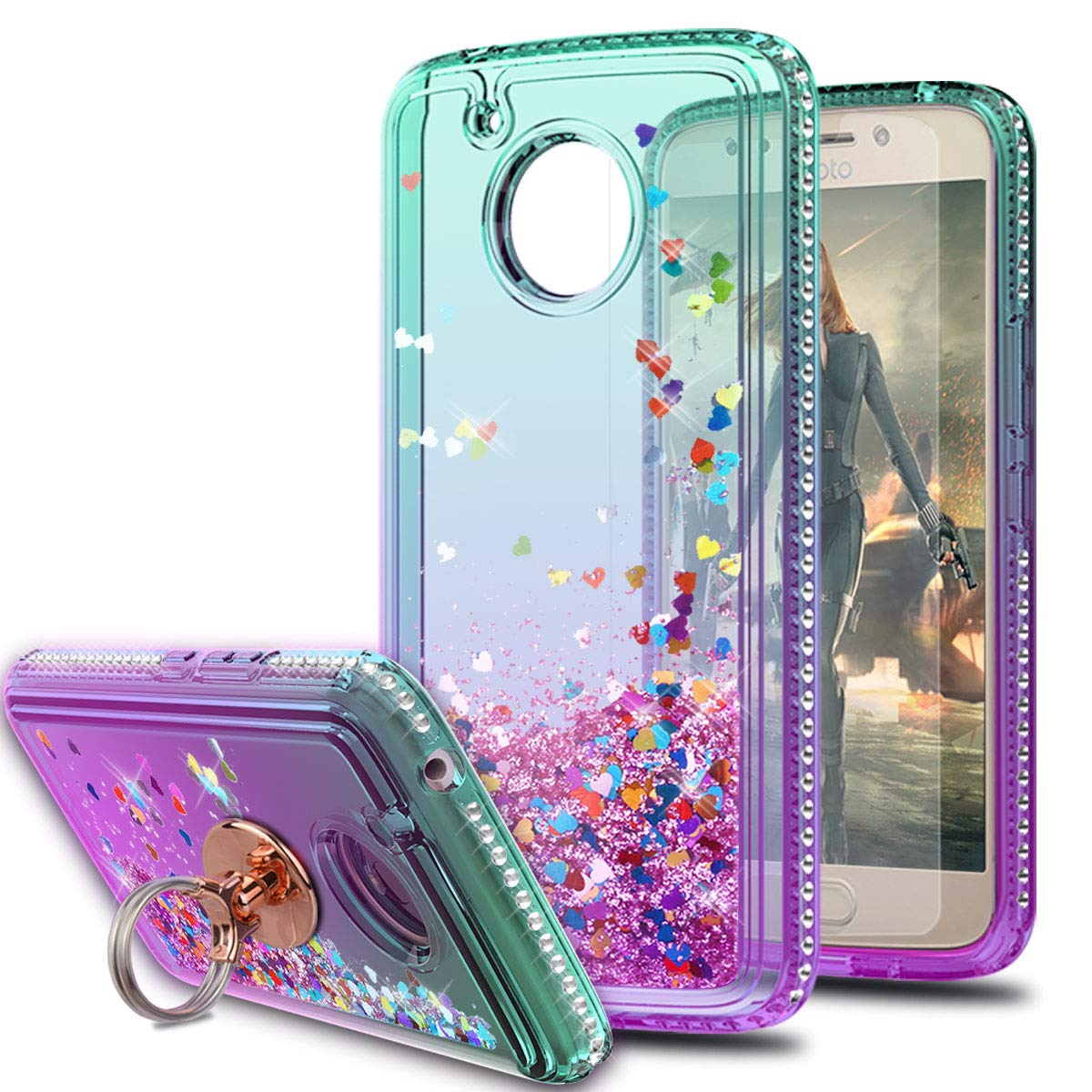 Moto E4 Plus (Not Fit Moto E4) Case with HD Screen Protector with Ring Holder,KaiMai Glitter Moving Quicksand Clear Cute Shiny Girls Women Phone Case for Moto E Plus (4th Generation)-Aqua/Purple Ring by KaiMai