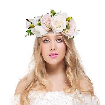 Amazon.com  Valdler Transparent Pink and Cream Rose Berries Flower ... 9f9c216cea7