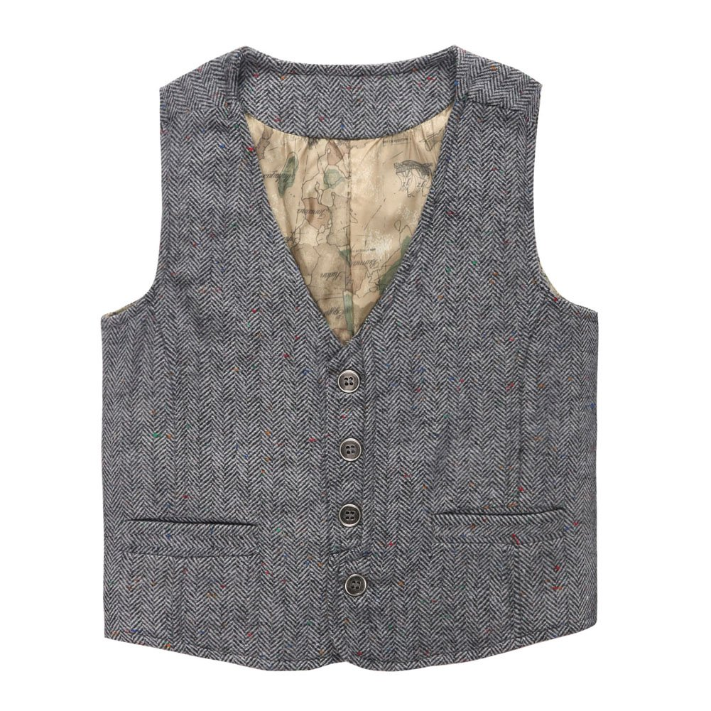 Coodebear Boys' Girls' Map Lined Buttons V Collar Vests Herringbone Grey Size 14T