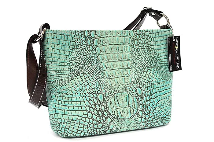 68152a4ce Amazon.com: MoonStruck Leather Concealed Carry Purse - CCW Handbags Antique  Turquoise - Made in the USA - Classic: Handmade