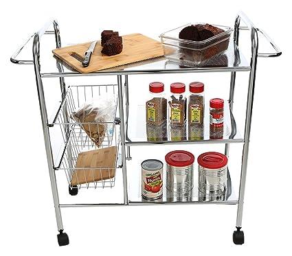 Amazon.com: Mind Reader 3CAR2BASK-SIL 3-Tier Kitchen / Utility Cart ...