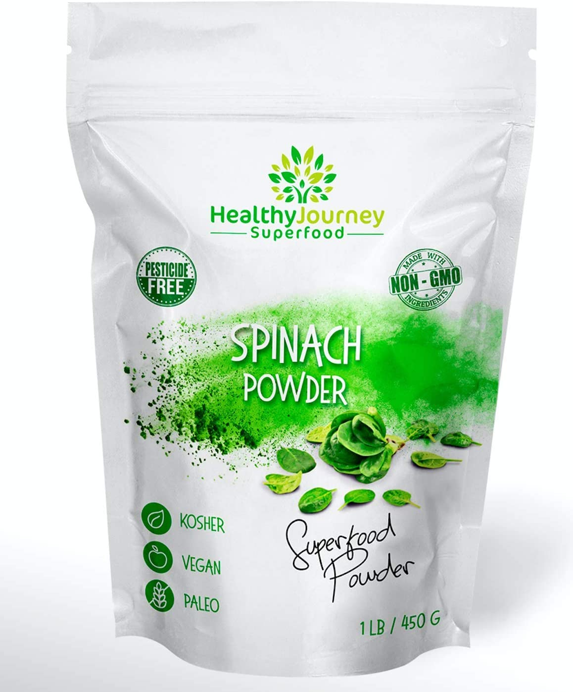 HealthyJourney Superfood - Spinach Powder - 100% Pure - Non-GMO - Pesticide Free - Vegan - Gluten Free - Kosher - Rich in Vitamin C and K - 1 LB