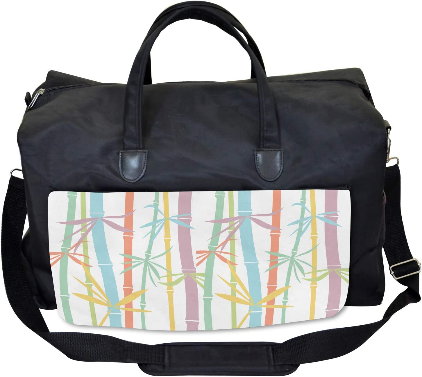 Large Weekender Carry-on Colorful Bamboo Tree Ambesonne Japanese Gym Bag