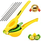 Easy Squeeze Premium Lemon Squeezer + 4 Stainless Steel Straws - 2in1 Manual Lime Juicer Citrus Press Lime Squeezer