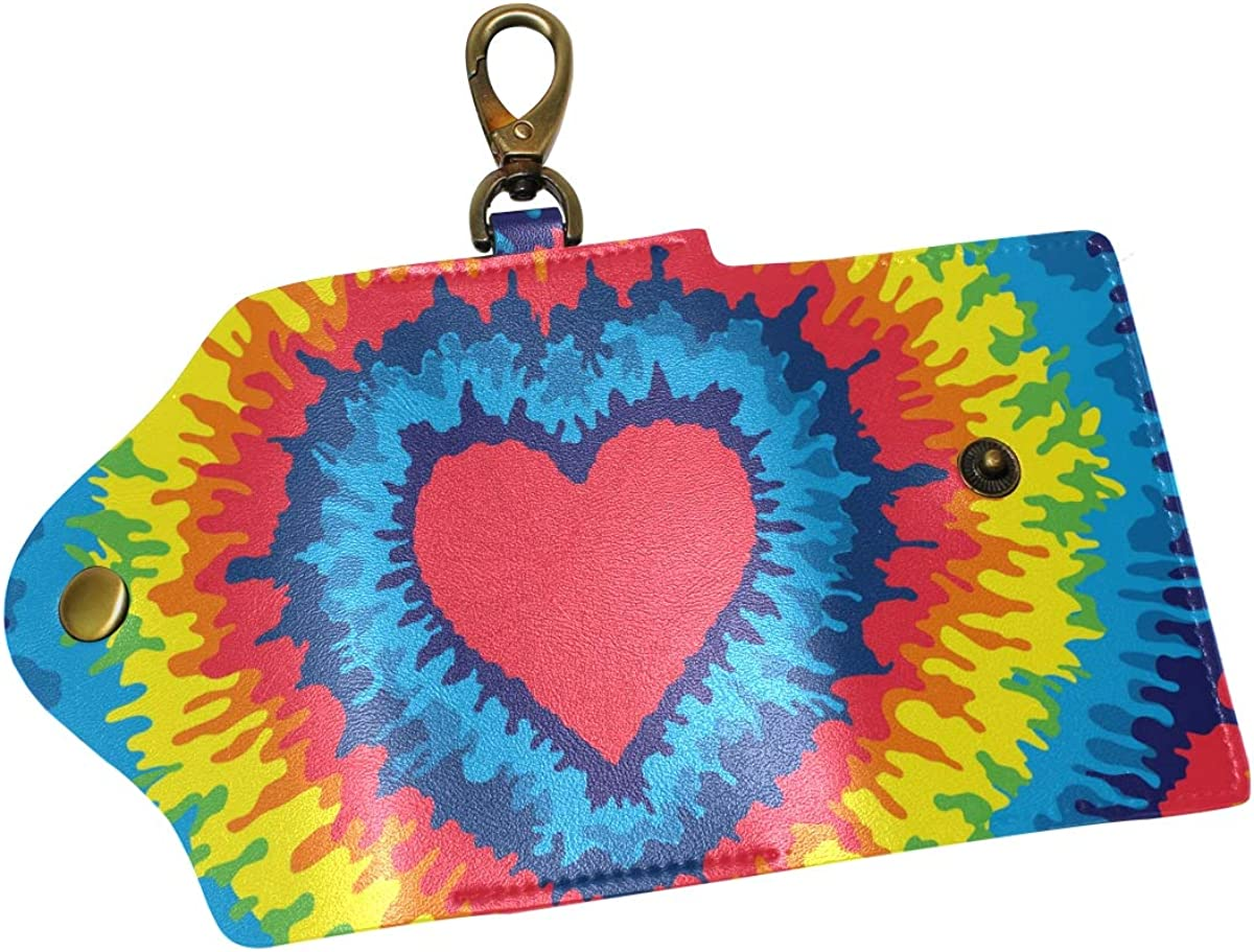 KEAKIA Love Hearts Leather Key Case Wallets Tri-fold Key Holder Keychains with 6 Hooks 2 Slot Snap Closure for Men Women
