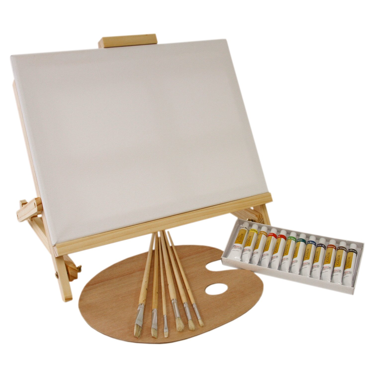 US Art Supply 21-Piece Oil Painting Set with Table Easel PS-073