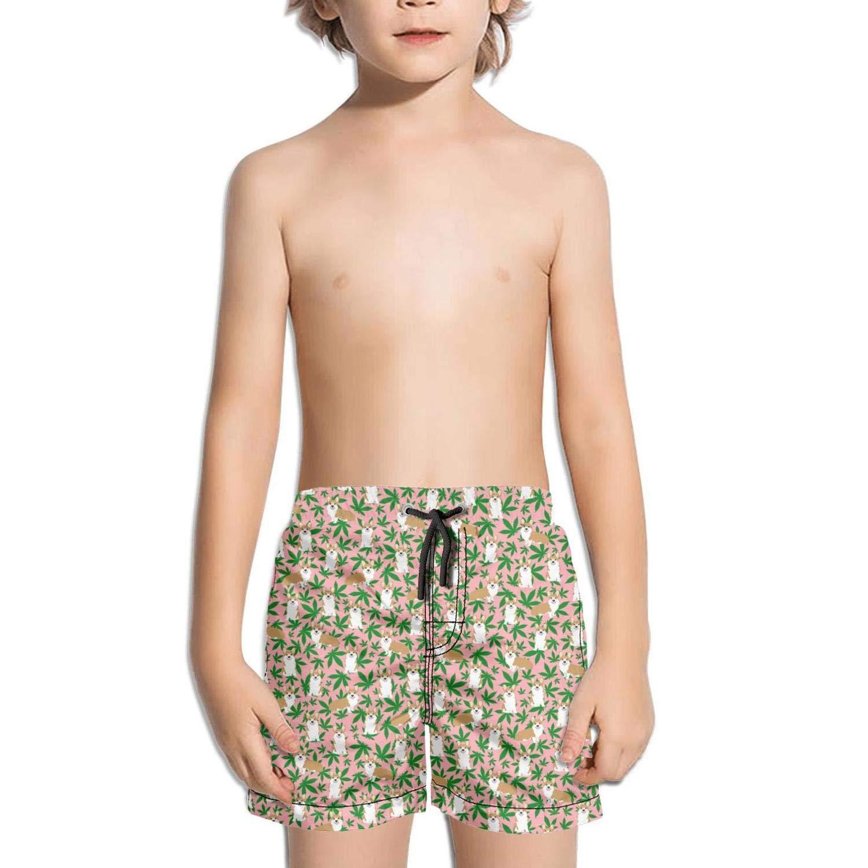 Cannabis Leaf Dog Black Kid Swimming Trunks Printed Swim Shorts for Boys Surfing Beach Shorts for Girls