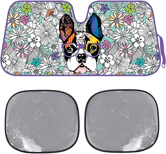 BDK Flowers & French Bulldog Auto Windwhield & Side Sun Shades for Car Auto (Sedan Truck SUV Van) - Accordion Style