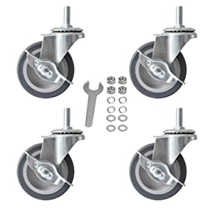 AAGUT 3 Inch Caster Wheels,Rubber Heavy Duty M12x38mm Threaded Stem Mount Industrial Castors Metal Swivel Wheel,Replacement for Workbench,Carts,Furniture,Dolly,Trolley, Set of 4 with Locking Brakes