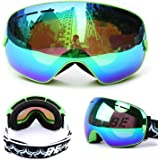 Ski Goggles for Men Women & Youth with Full UV Protection, Professional Outdoor Snowmobile Ski Glasses with Anti-Slip Strap, Windproof, Anti-Fog, Anti Glare