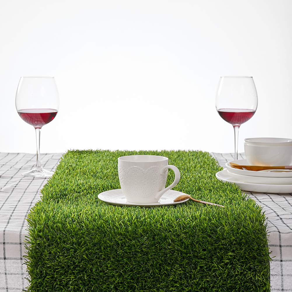 Kunta Synthetic Grass Table Runner, Approx 14'' x 108'' Compatible Placemats, Realistic Look, Perfect for Spring, Fall Holidays, Parties, Wedding Banquet Decoration Indoor or Outdoor Parties (Cut Edge) by KUNTA GARDEN