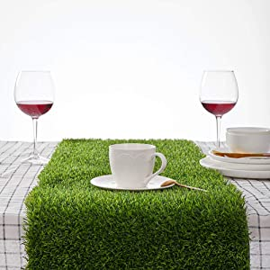 "Kunta Synthetic Grass Table Runner, Approx 14"" x 108"" Compatible Placemats, Realistic Look, Perfect for Spring, Fall Holidays, Parties, Wedding Banquet Decoration Indoor or Outdoor Parties (Cut Edge)"