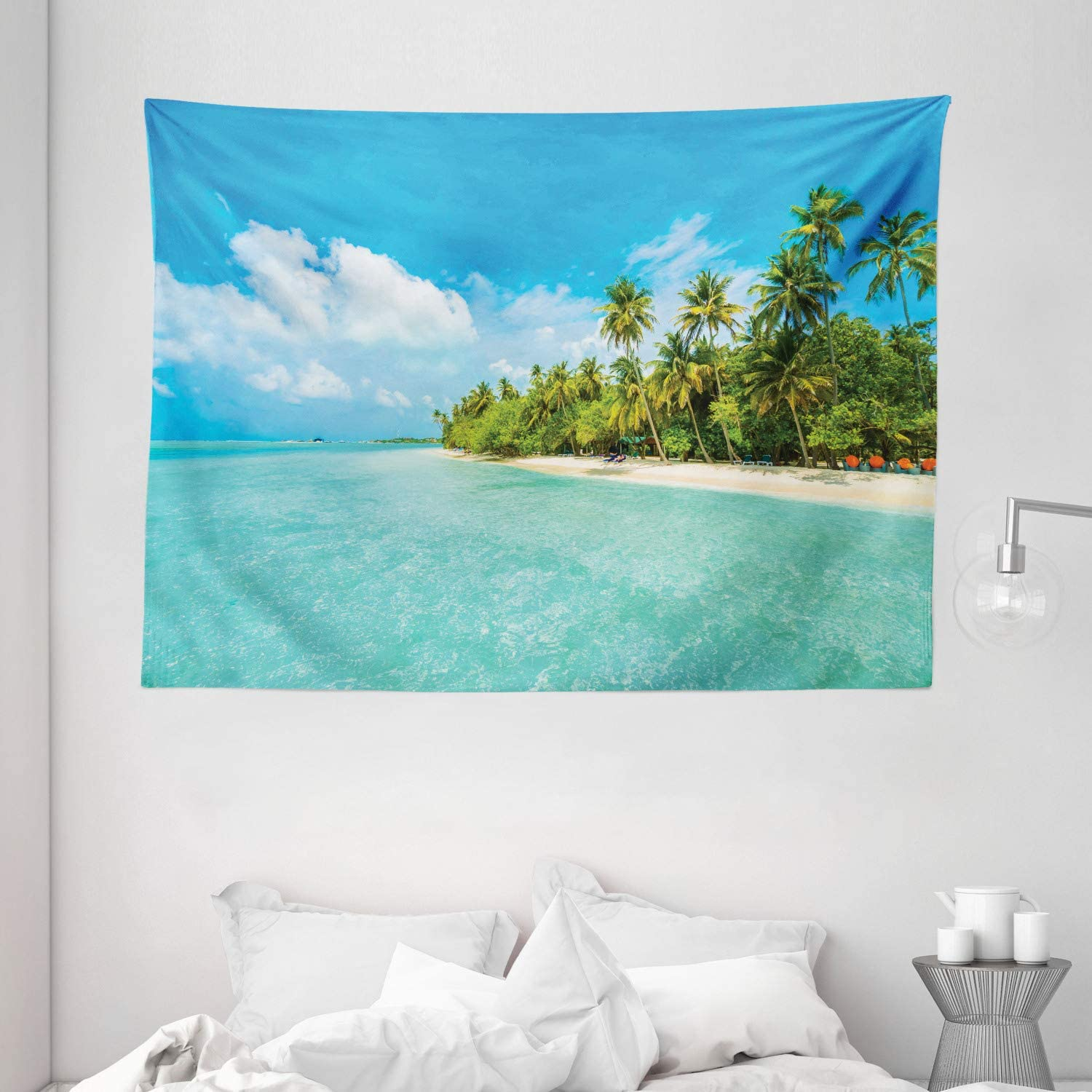 """Ambesonne Ocean Tapestry, Tropical Island Photo with Sandy Beach and Palm Tree Nature Exotic Holiday, Wide Wall Hanging for Bedroom Living Room Dorm, 80"""" X 60"""", White Turquoise"""