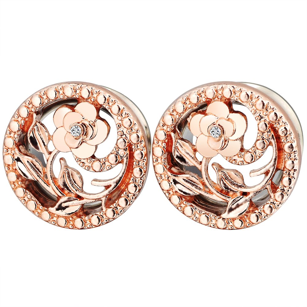 PHD LTD Stainless Steel Gold Diamond Rose Double Flared Flesh Ear Tunnels Plugs Stretcher Expander Kit Gauge 0g