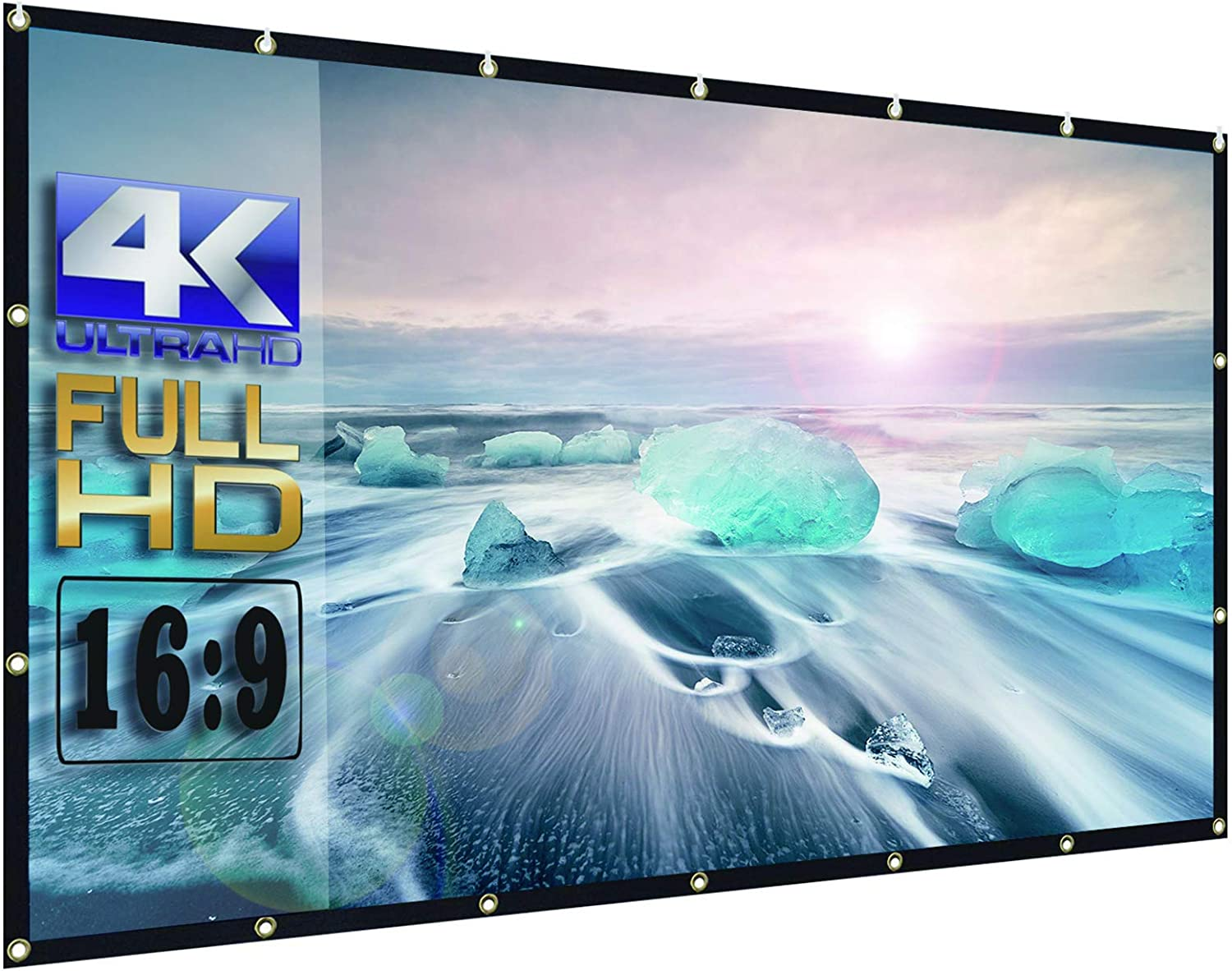 OWILLZ Projector Screen 16:9 HD Foldable for Home Theater Cinema Indoor Outdoor (150in)