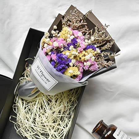 Dried Flowers Bouquet Of Real Gift Box Gypsophila Kapok Floewrs Rose Birthday Girlfriends DIY