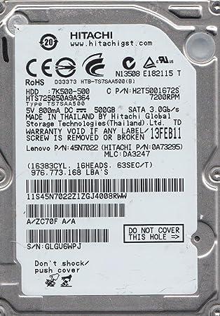 "Hitachi Travelstar HTS725050A9A364 500 GB SATA...2.5/"""