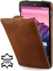 StilGut, UltraSlim, pochette exclusive en cuir véritable pour le Google Nexus 5, cognac