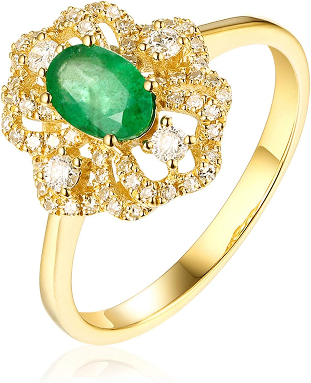 Daesar Anillo Oro Amarillo Mujer 18 Kilates Flor con Oval Diamante Esmeralda Verde Blanca 0.43-1ct Talla 6,75-25