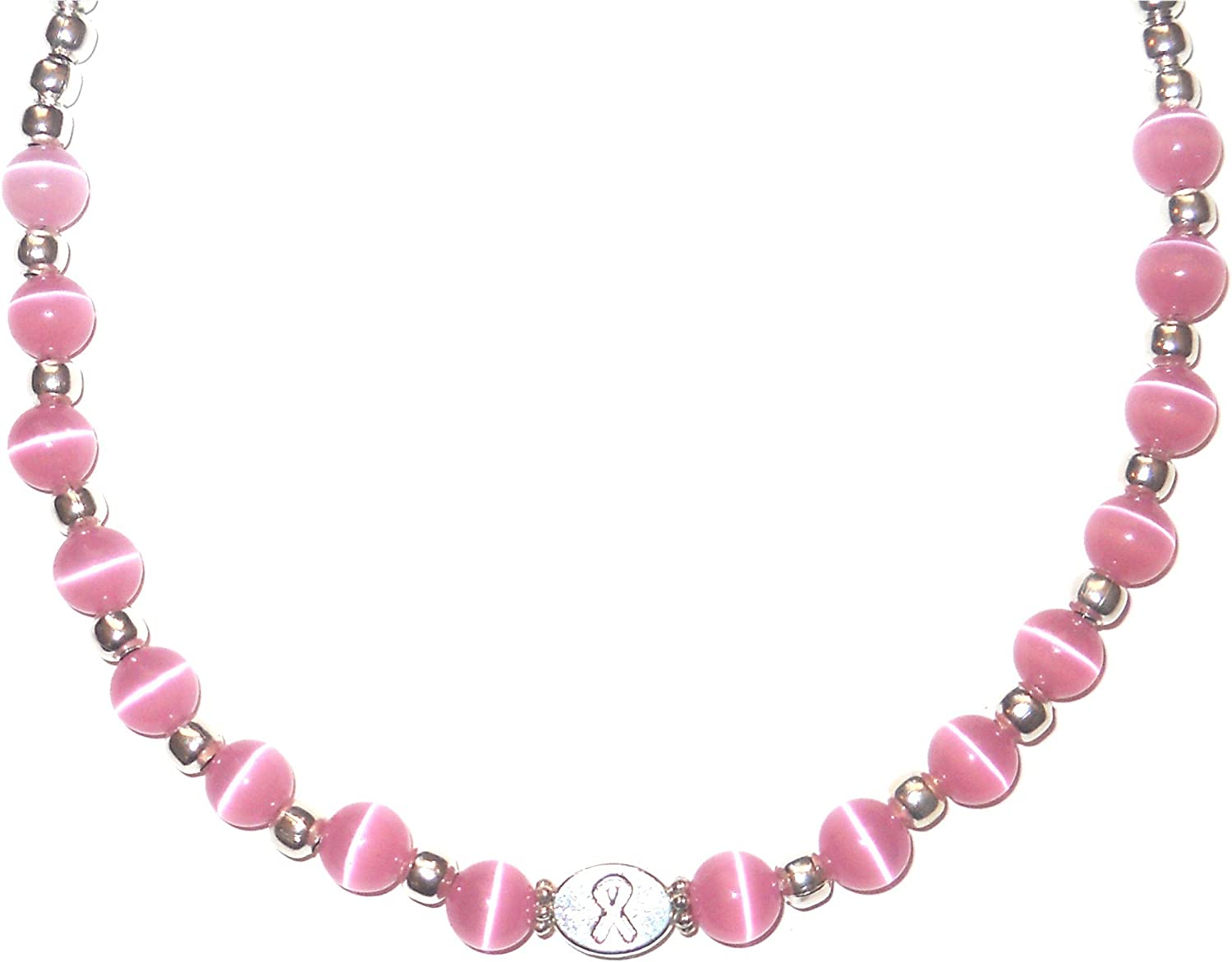 8mm breast cancer ribbon beads