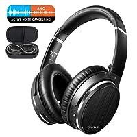 OneAudio Active Noise Cancelling Kopfhörer, ANC Bluetooth Kopfhörer Over Ear Headset mit aktiver Rauschunterdrückung 18 Stunden Spielzeit, integriertem Mikrofon Freisprechen für alle Geräte mit Bluetooth oder 3,5 mm Klinkenstecker Schwarz (Flugzeugadapter als kostenlose Geschenk)