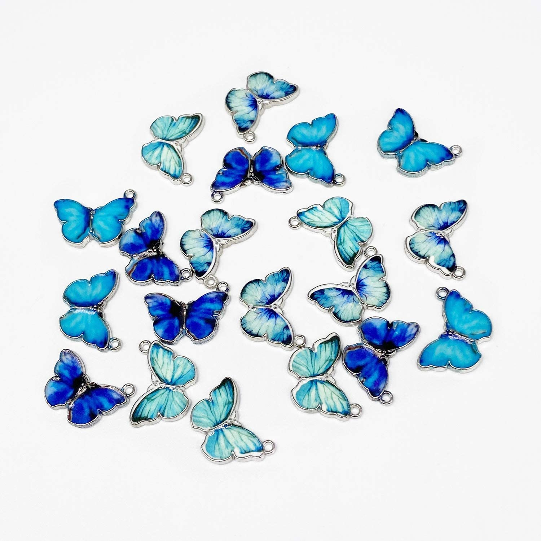20 PCS Butterfly Pendant Charms Colorful Butterfly Charm Acrylic Butterfly Pendant for Jewelry Making Necklace Bracelet Earring 10 Colors