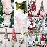AKIWOS Christmas Santa Claus Ornaments Xmas Swedish Gnome Plush Elf Christmas Table Ornament Xmas Tree Decoration Home…
