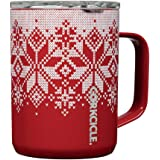 Corkcicle 16oz Coffee Mug - Triple-Insulated Stainless Steel Cup with Handle (Fairisle Red)