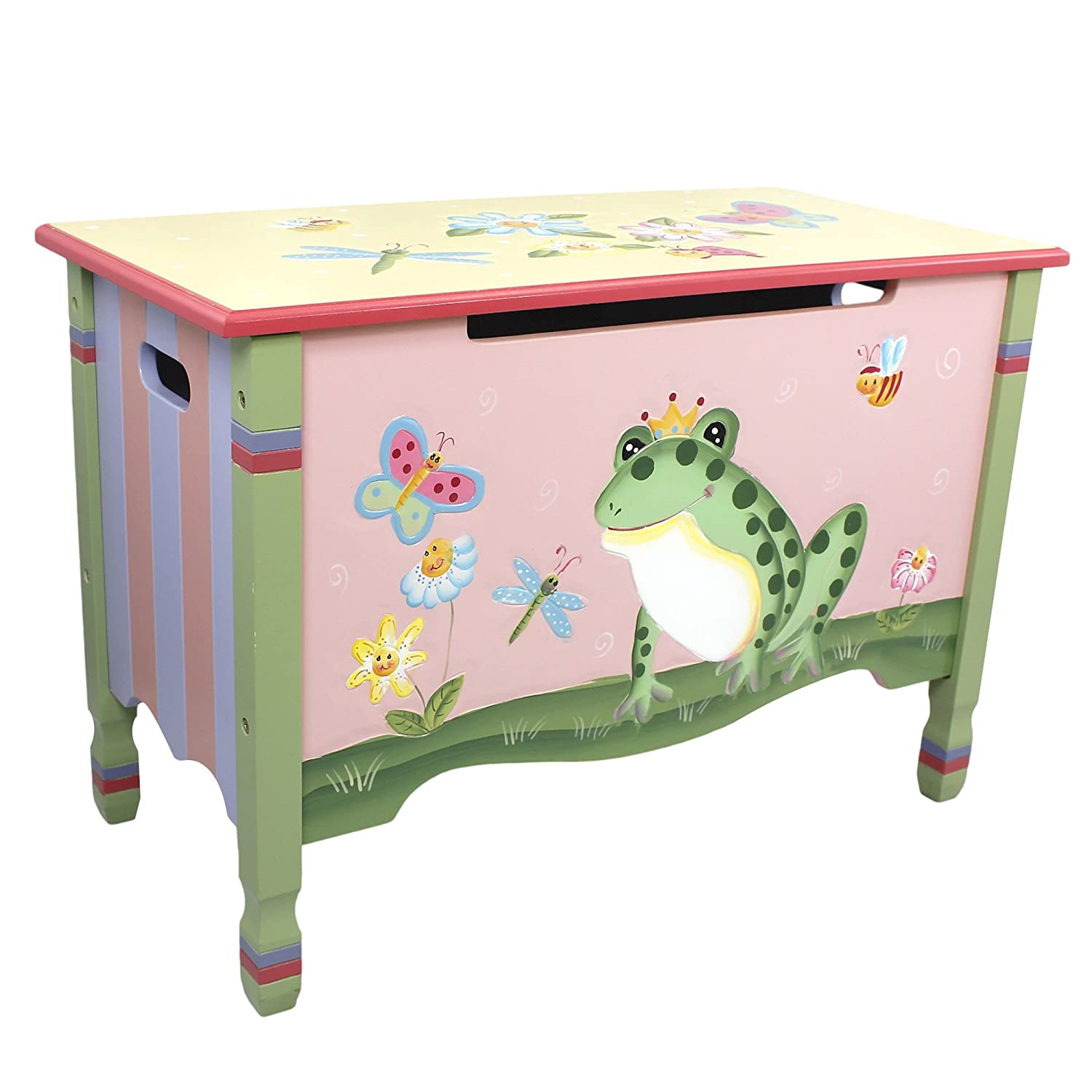 Fantasy Fields - Magic Garden Thematic Kids Wooden Toy Chest with Safety Hinges | Imagination Inspiring Hand Crafted & Hand Painted Details Non-Toxic, Lead Free Water-based Paint Teamson W-7479A